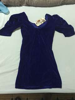 Navy blue velvet type blouse from ogie and regines celebrity ukay- ukay