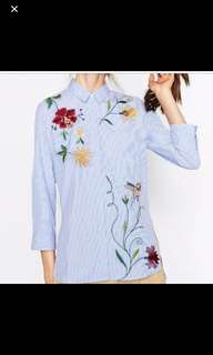 Blue embroidered stripe shirts uk M