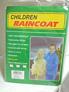 BRAND NEW!! 100% WATERPROOF CHILDREN RAINCOAT!!! FITS AGES 7 TO 10!!! HOODED WITH STRING! ! REUSABLE, EASY & LIGHT TO CARRY!!  MADE OF PEVA MATERIAL!!!  SUPER HANDY FOR MOMMIES OUT THERE!!  U DONT HAVE TO WORRY UR KIDS GET WET WHEN IT STARTS RAINING!!!!