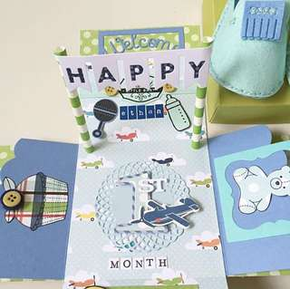 Happy 1st Month new born baby boy Explosion Box Card