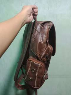 Brown Leather Convertable 2-Way Bag