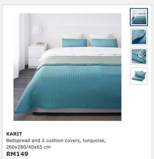 Ikea Karit (King) Bedspread With 2 Cushion Covers, Turquoise (260x280cm)