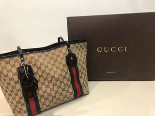 Authentic Gucci Neverfull Tote Bag With Charm
