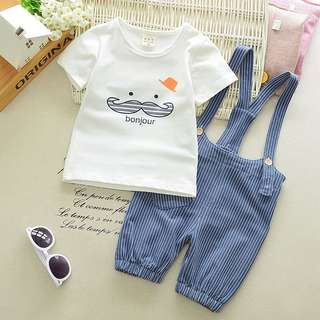 Instock - 2pc bonjour set, baby infant toddler boy children sweet kid happy abceefgh so pretty