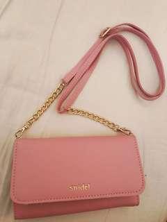 Snidel 粉紅 單肩袋 銀包