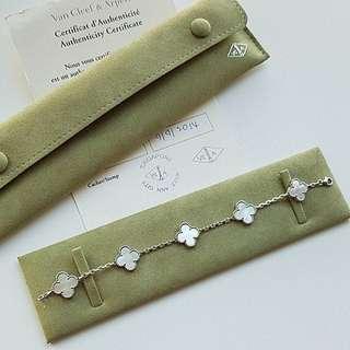 Van Cleef & Arpels VCA 5 motifs Alhambra pearl bracelet white gold