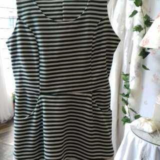 Dress in green and white stripe
