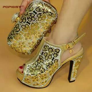 Gold Wedding Clutch Bag Match African Shoes and Bag 12.5cm Matching Set Italy Shoes and Bag Match To Party Free Shipping