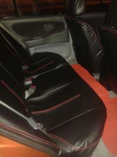 Cover Seat wira sedan PVC (Black & Red line)