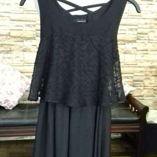 Black dress with lace top
