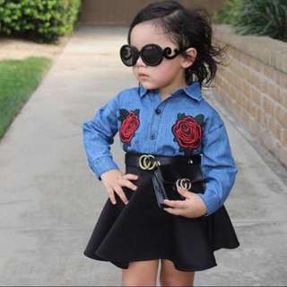 Ready Stock Promotion 2 in 1 Kids Embroidery Roses + Skirt