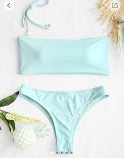 Zaful Light Blue Tube Bikini