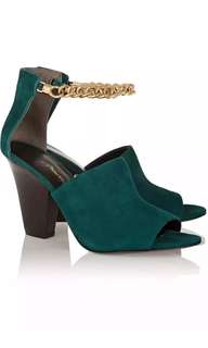 New 3.1 Phillip Lim Forest Green Berlin Heels with Gold Chain