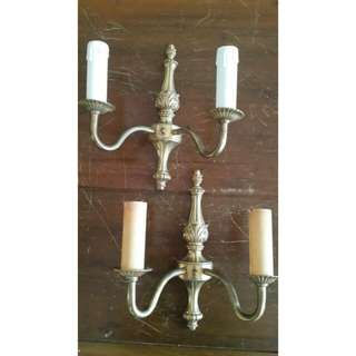 Double arm antique wall light