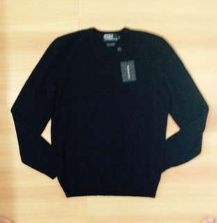 Authentic Polo Ralph Lauren Cashmere V Neck Black Sweater