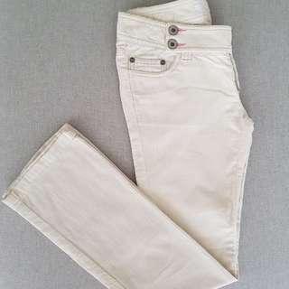 Cream corduroy straigh cut pants