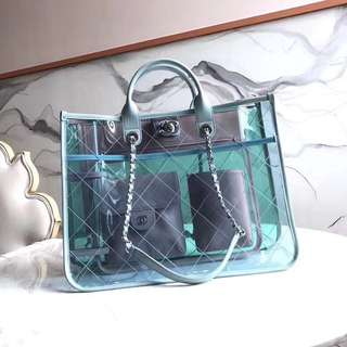 Chanel transparent tote bag ss18