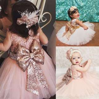 Free Postage Promotion: 5-15 Days Shipping Time for Baby Girl/Kids Sequins Boknot Dress