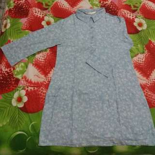 Shirt Dress flower soft blue