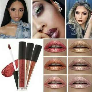 FOCALLURE Lipstick Lip Makeup Long Lasting Pigment Nude Gold Metallic Lipgloss Matte Liquid Velvet Metal Lipstick 52 Colors