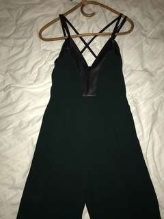 Green jumpsuit with leather panels size 6-8