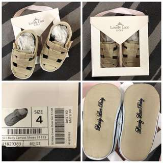 Lovely Lace baby canvas shoes/ pre walkers beige