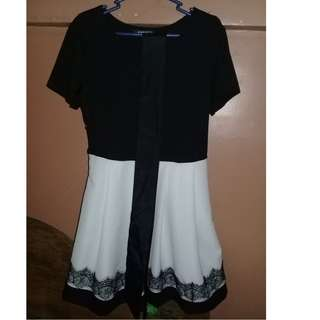 Korean Dress Black and White