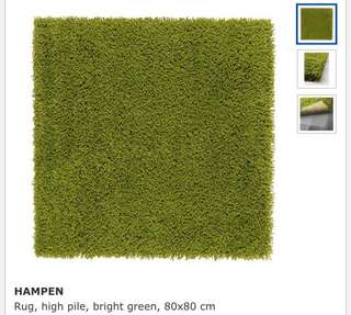 Ikea Hampen Rug, High Pile, Bright Green (80x80cm)