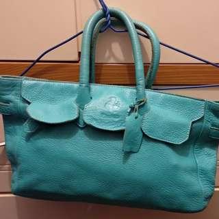 真皮藍色Little Room 手挽袋