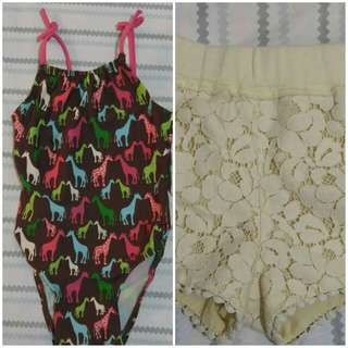 On sale! Gingersnaps shorts and Baby Gap one piece