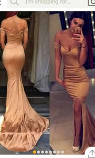 Gold dress. Built in cups. Size 2