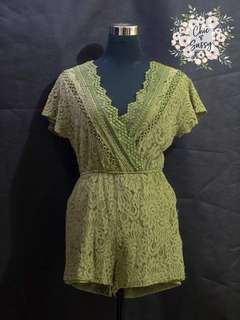 Green laced romper