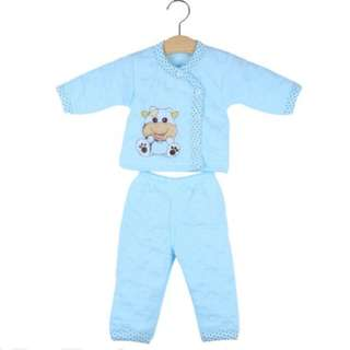 Cotton Warm Long Sleeve Paded Clothing Set for Newborn Babies - Pakaian Bayi (blue)