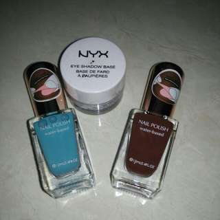 Nail polish miniso n eyeshadow base nyx