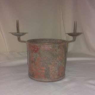 古董紅銅手工香爐燭台