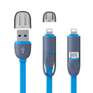 2 in 1 USB Charging Cable for IPhones or Android