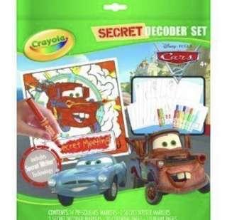 crayola secret decoder set: cars disney pixar
