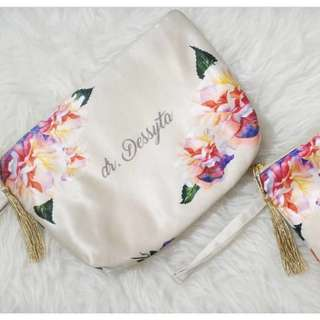 🚚 CUSTOM COSMETIC POUCH SATIN MATERIAL