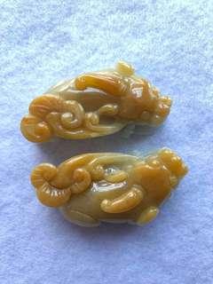 緬甸天然翡翠A貨,招財如意翡黃貔貅一對