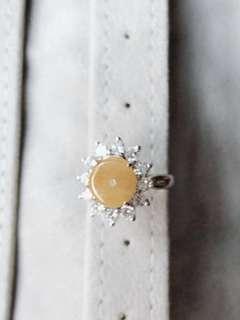 緬甸天然翡翠戒指,925純銀鑲嵌