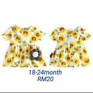 Beach party dress baby wear sun flower pattern (2pc)