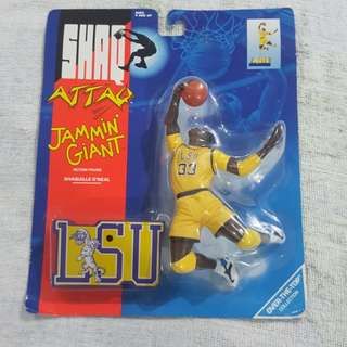 Legit Brand New Sealed Kenner Shaq Attaq Jammin Giant NCAA LSU NBA Shaquille O'Neal Toy Figure 7""