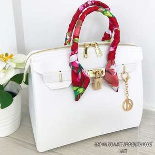 Beachkin Bag White Upgraded Litchi Matte Zippered