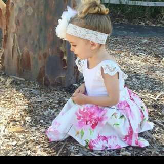 2pc baby girl dress floral backless dress