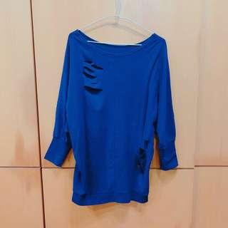🚚 STARMIMI 紫藍色柔軟縮口袖造型上衣