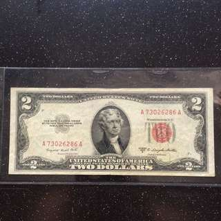 USA 1953 red seal $2 banknote
