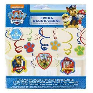 Paw patrol swirl decorations - value pack 12 pieces