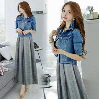 Vs STEVIA SET [DRESS + JAKET]   Maxidress lengan buntung bahan katun yandet zara + jaket lengan panjang bahan soft jeans. All size fit to L