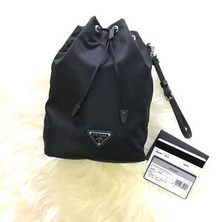 💯% Authentic BN Prada DrawString Pouch with Strap