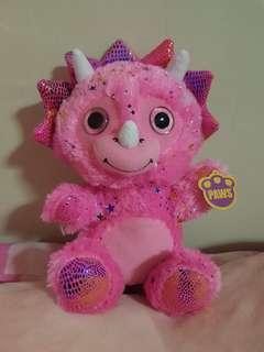 Pink Triceratops dinosaur glitter soft toy